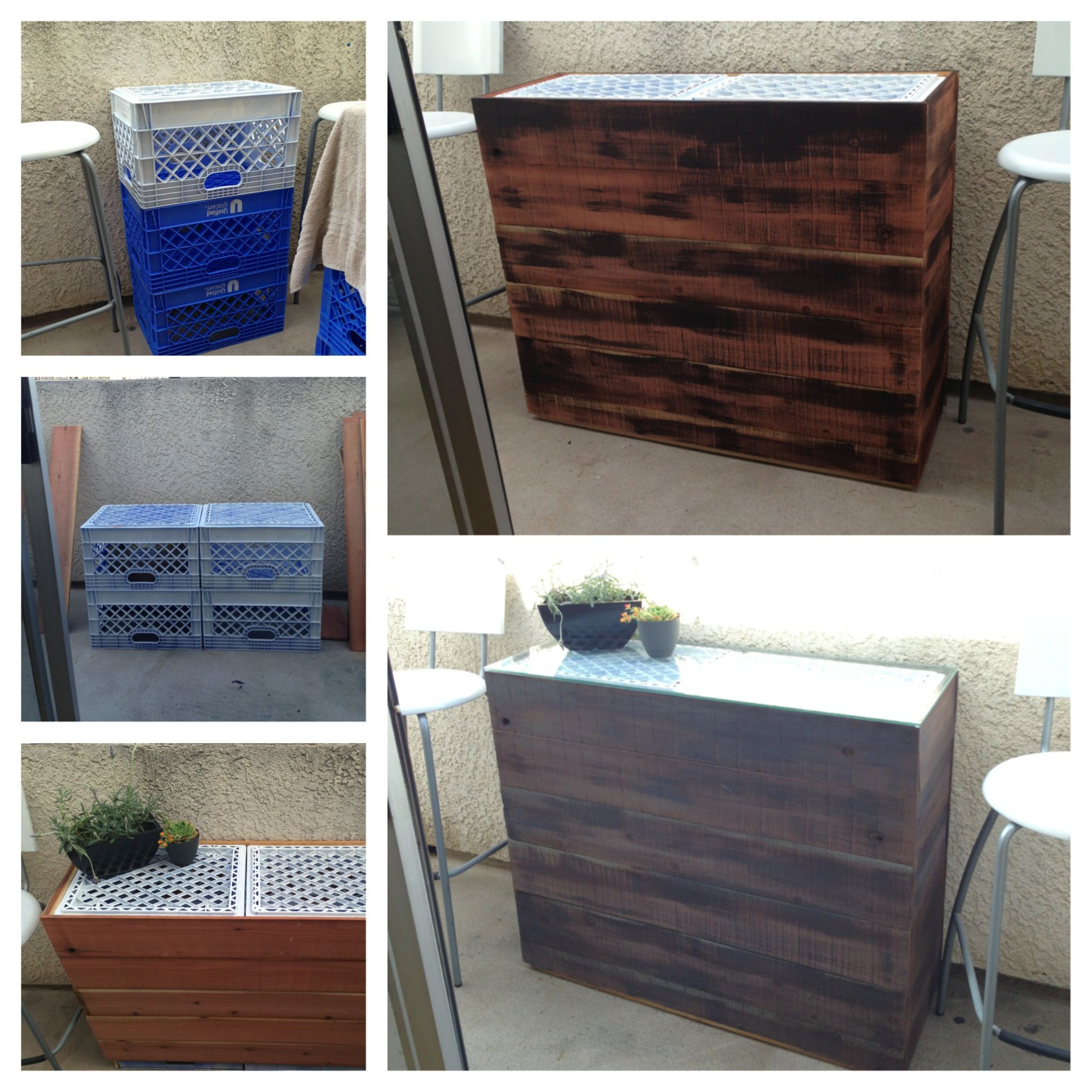 i turned plastic milk crates into an outdoor table