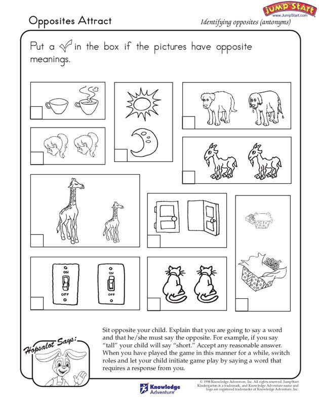 Opposites English Worksheets For Kids Opposites Attract Opposites Worksheet First grade antonyms worksheet