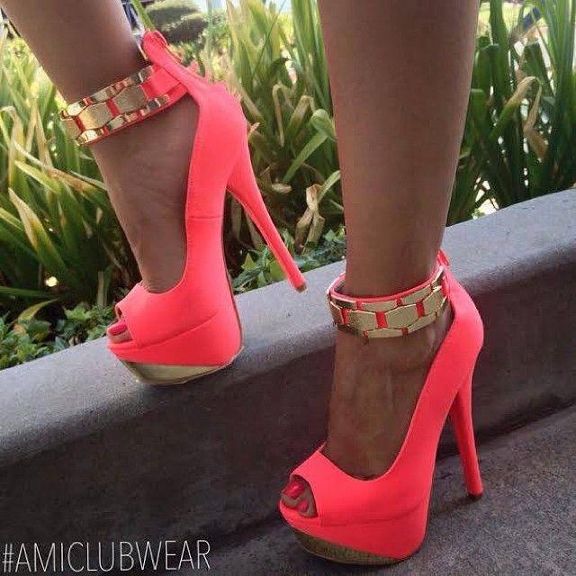 Sexy Black Metal Ankle Strap Platform High Heel Shoes  Heels