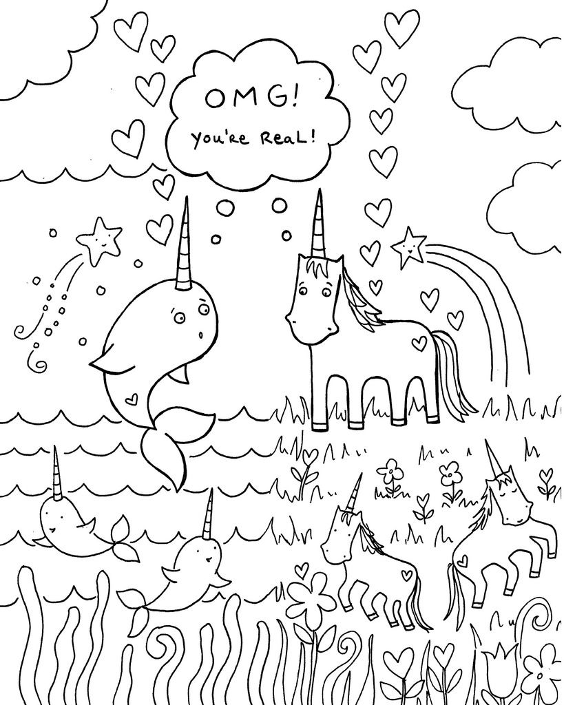 All sizes | Free download: Narwhal unicorn coloring book page ...