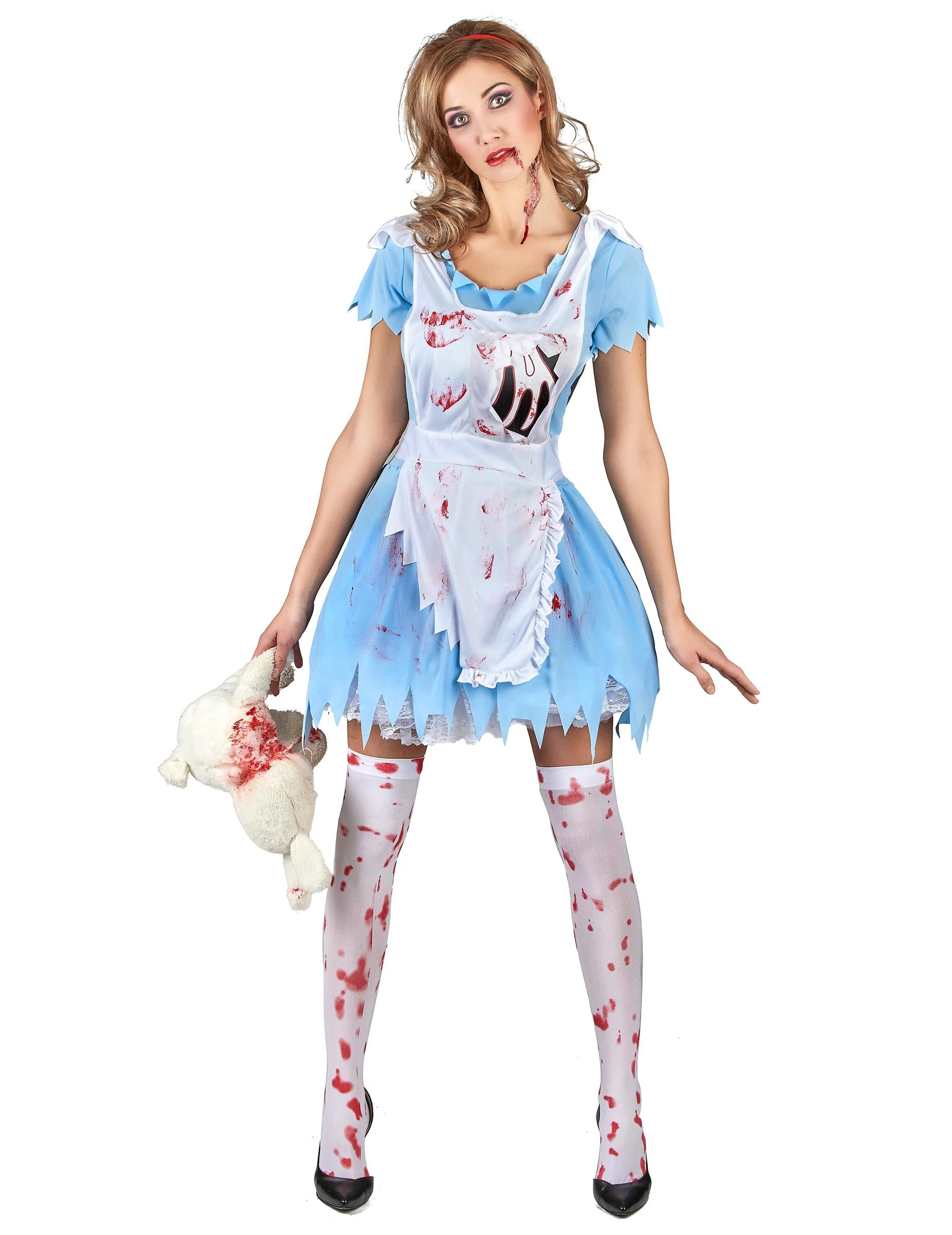 Alice Halloweenkostum Horrormarchen Kostum Blau Weiss Rot In 2020
