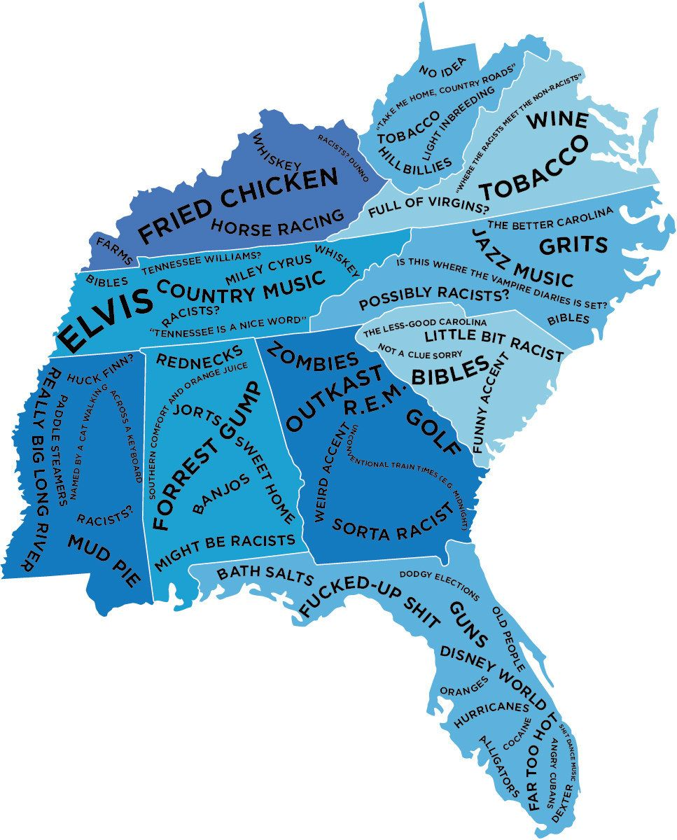 The Stereotype Map Of Every US State According To British - Us map drawn by brits