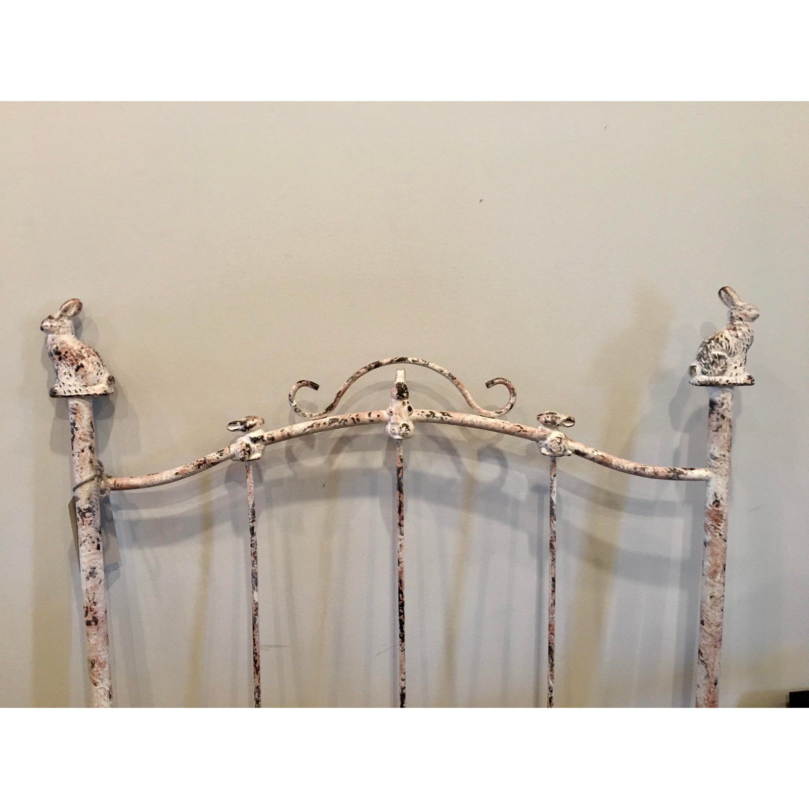 Corsican Antique White Wrought Iron Twin Bunny Bed Headboard With