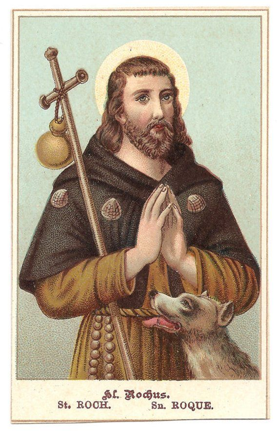 Dogs Patron Saint Roch Rocco Vintage Italian Holy Prayer