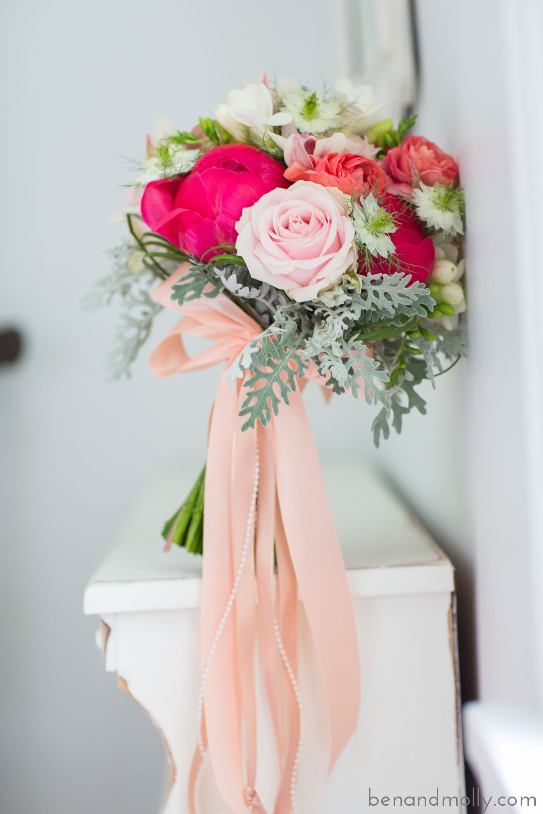 Pink And Coral Wedding Bouquet With Gatsby Inspired Ribbons Hanging Down Benandmolly