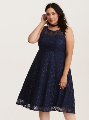 4671f4b872458 Special Occasion Navy Sequin Lace Illusion Midi Skater Dress in 2018 ...