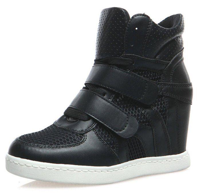 Amazon.com: Amanda Gril Women's Suede Velcro Strap Lace Up Sneaker Wedges: Clothing