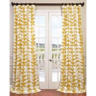 Exclusive Fabrics Triad Gold Printed Cotton Twill Curtain Panel (Gold 84L)