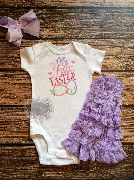 ee1358c9f Easter Onesie Baby Onesie My First Easter Baby Girl Onesie Funny Shirt  Personalized Onesie Pink Purp