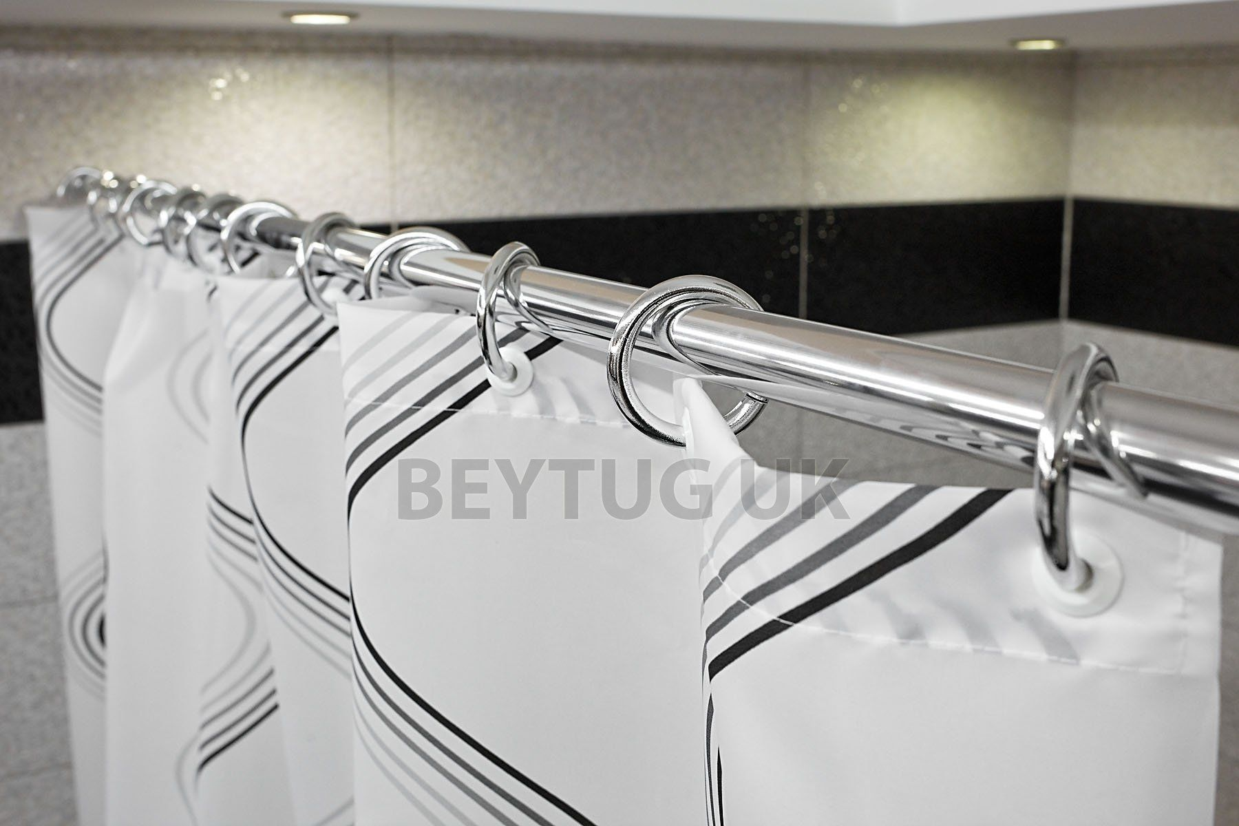 New Telescopic Extendable Shower Curtain Rod Rail 140cm 250cm