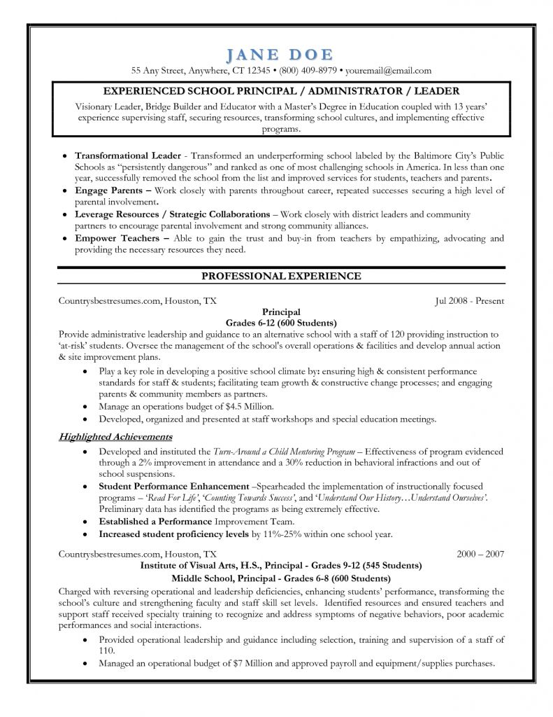 Examples of principal resumes templates 2021 teacher