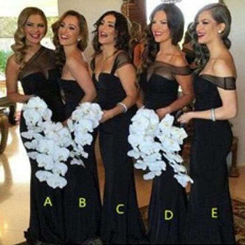 Black dress bridesmaid - Mismatched Different Styles Cheap Sexy Black Long Mermaid Bridesmaid Dresses Wg54