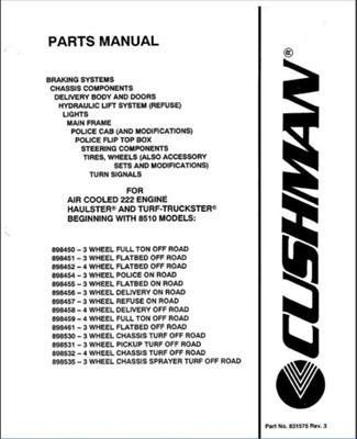 EZGO 831575 2005 Parts Manual For Cushman Vehicles Fitted