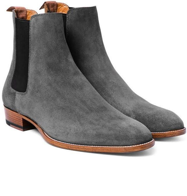 83c8936ebd30a Details about Handmade Men Dark Gray Suede Chelsea Boots, Mens Style ...