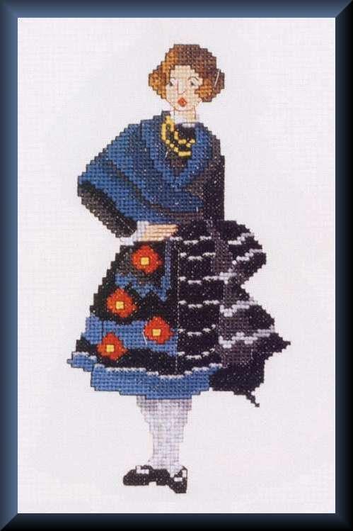 0 point de croix femme espagnole - cross stitch spanish lady