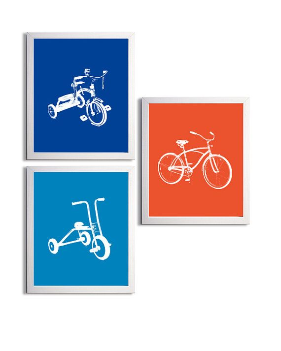 Nursery Boy Tricycles and Bicycle Transportation by ZeppiPrints, $36.00