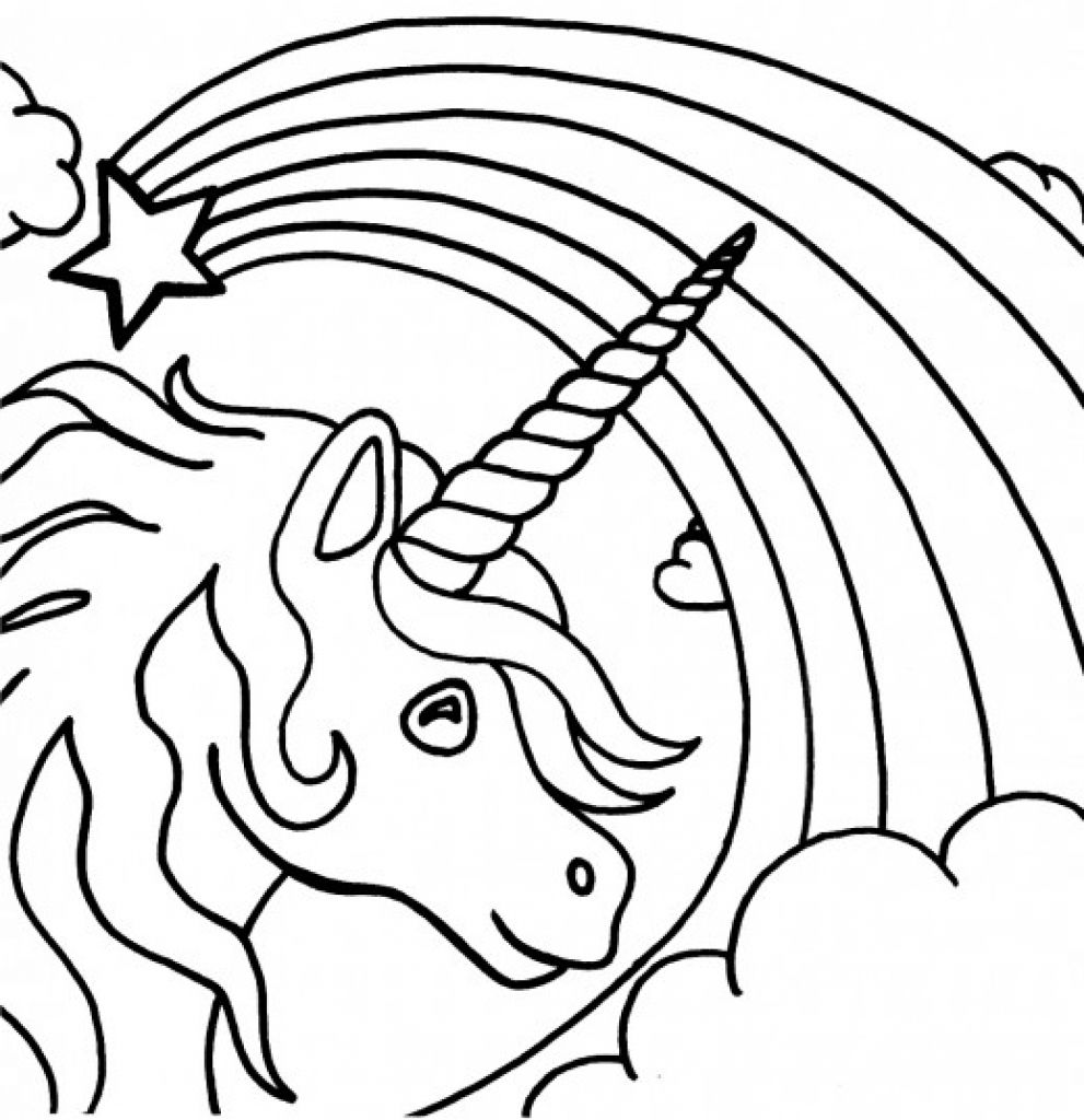 beautiful unicorn starring a fading rainbow coloring page