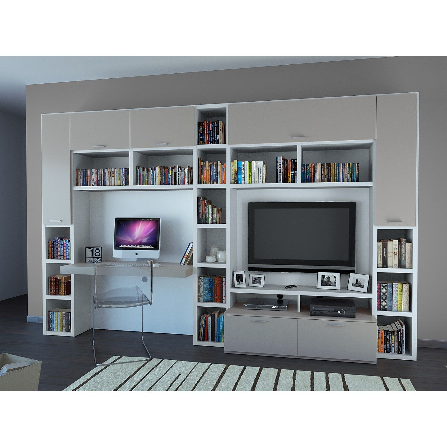 mobile tv con scrivania aliant 05 struttura schienali e. Black Bedroom Furniture Sets. Home Design Ideas