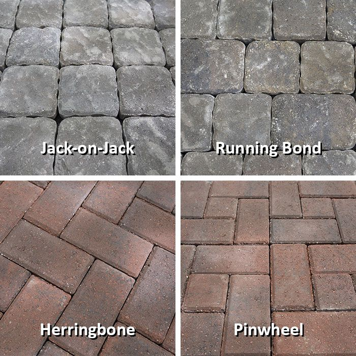 Jack On Jack, Running Bond, Herringbone And Pinwheel Paving Stone Patterns.