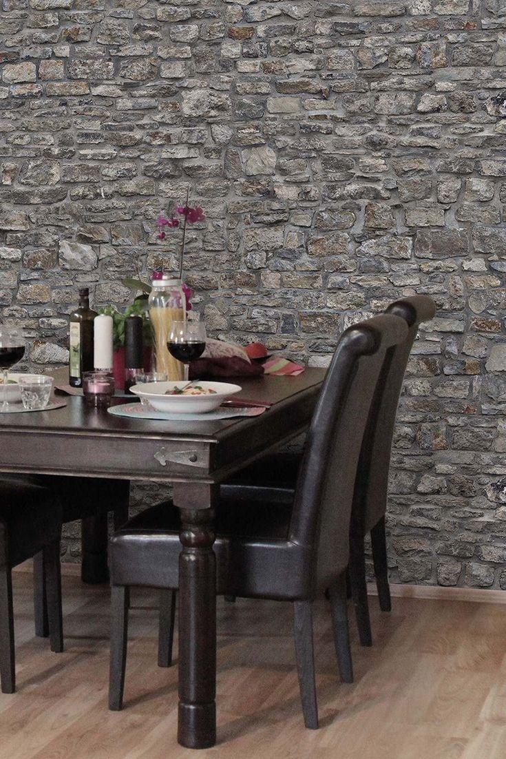 Bilderwelten vliestapete steinoptik breit alte steinmauer - Vliestapete esszimmer ...