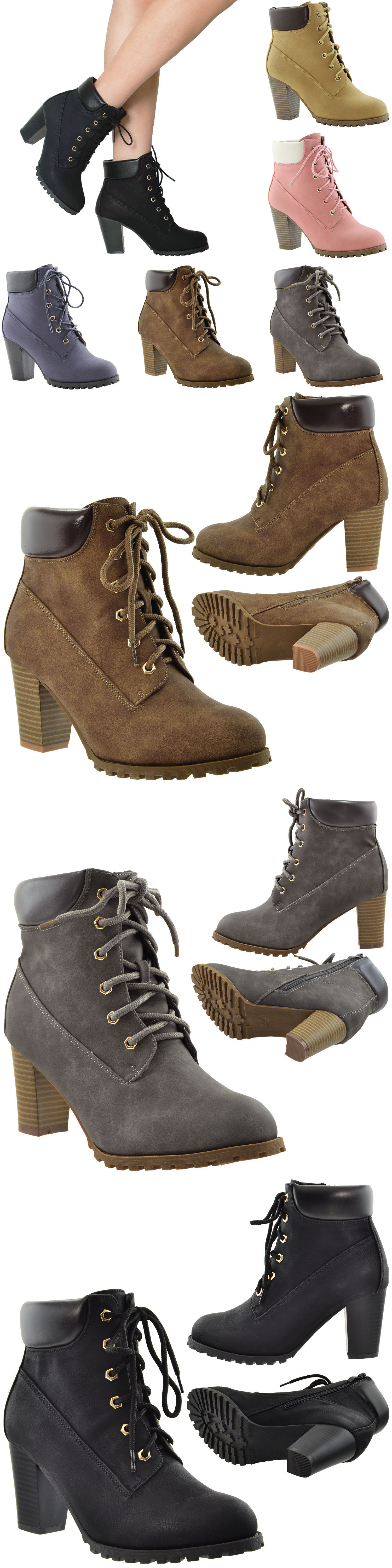 0d7d8a751bf Boots 53557: Women S Ankle Boots Lace Up Booties Chunky Stacked High Heel  Rugged Padded Shoes -> BUY IT NOW ONLY: $35.95 on eBay!