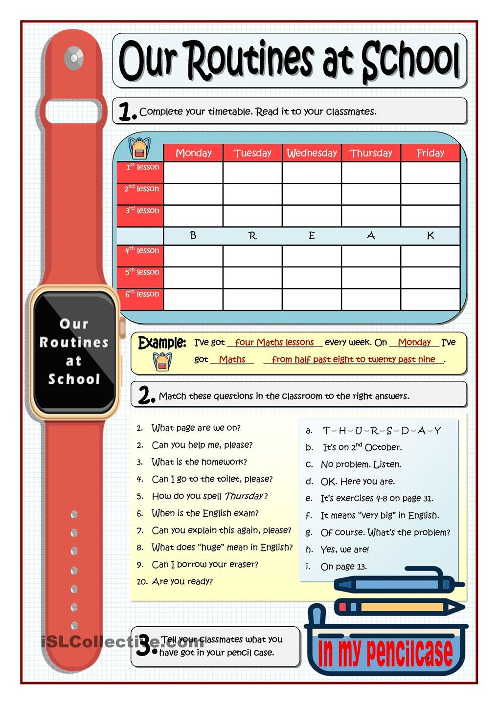OUR ROUTINES AT SCHOOL | ESL worksheets of the day | Pinterest ...