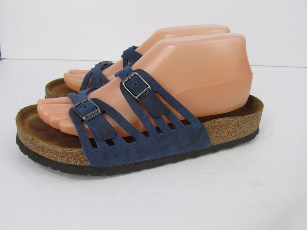 56eb2b8f565b Birkenstock Granada Blue Leather Soft Footbed Slide Sandals Size 38 L7 M5   Birkenstock  Slides  Casual