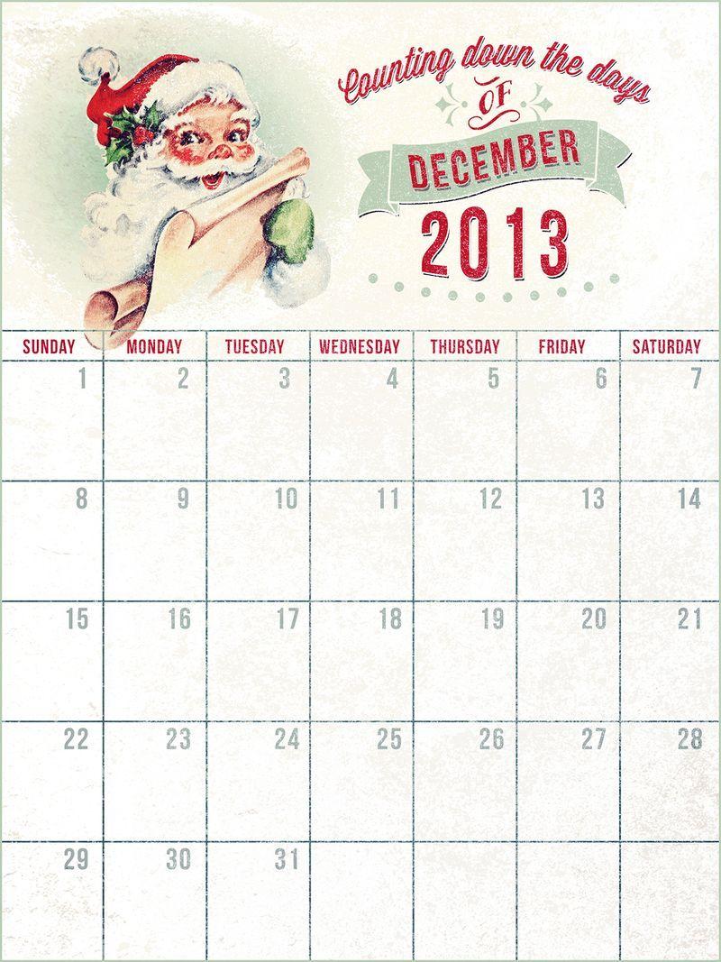 2013 December Daily Calendar December Daily December Calendar