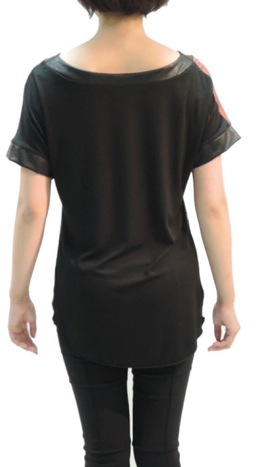 Back,T-shirt,Faux Leather,Print,Claudio Ferniani