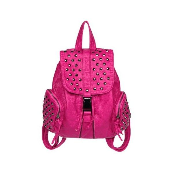 Classic Women's Satchel With Solid Color and Rivets Design ❤ liked on Polyvore featuring bags, handbags, pink purse, satchel purse, rose handbag, pink satchel handbags and satchel backpack