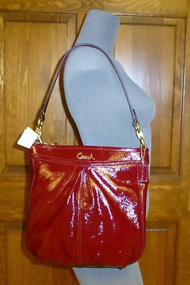 Nwt Coach Ashley Patent Leather Hippie Tote Bag Handbag Shiny Crimson Red 298 Nice Bags
