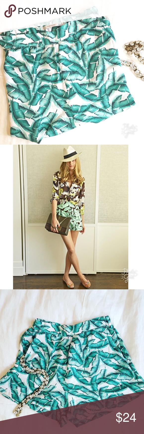 e3a0a759 ZARA TRF | Palm Leaf Shorts ~ Zara Trafaluc ~ Print: Palm Leaf / Banana