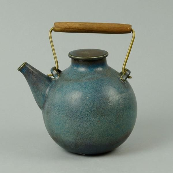 Stig Lindberg For Gustavsberg Sweden Unique Hand Thrown Teapot With Matte Blue Glaze 1961 Incised G Hand Stig L Height Tea Pots Hand Thrown Stig Lindberg