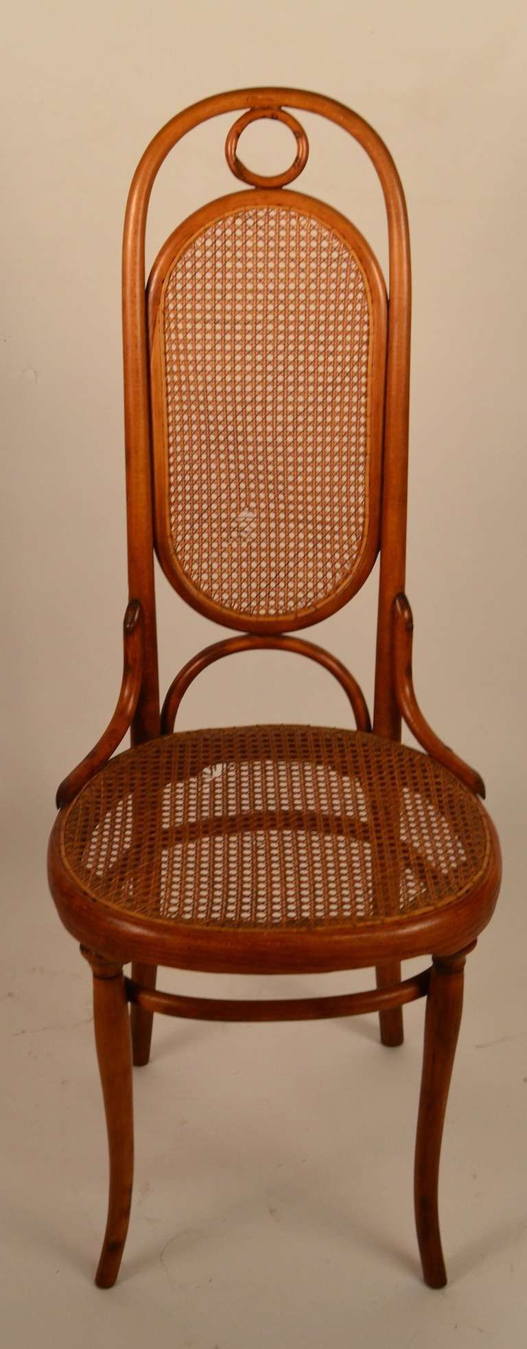 Vintage thonet style cafe chairs with stenciled seats - Early Thonet Bent Wood Chair