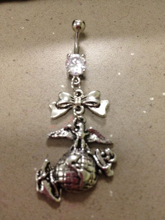 Marines EGA Belly Button Ring by MilitaryBodyBling on Etsy, $14.00