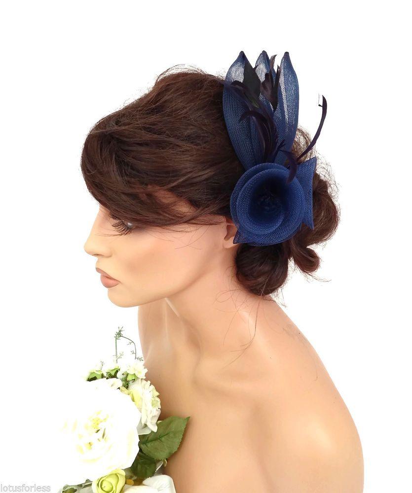 Elegant Navy Blue Mesh Bow Flower Feather Hair Comb Fascinator Races ... b5e5de91b68