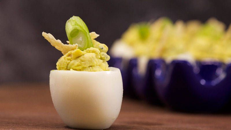 Photo of Green Migas Deviled Eggs Recipe #Deviled #easter cooking ideas for preschoolers …