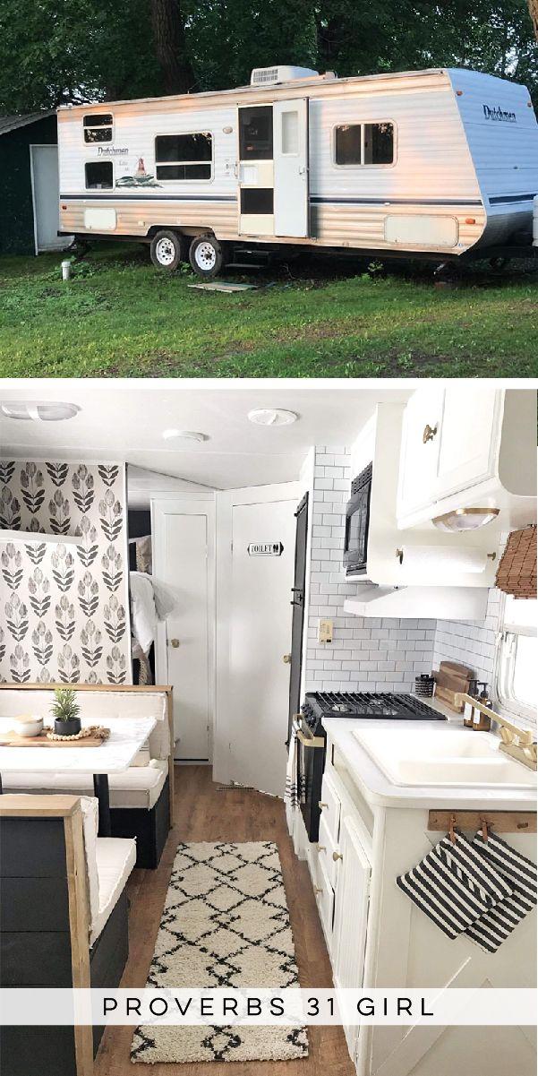Tour this budget-friendly farmhouse camper!