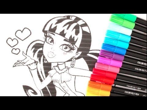 MONSTER HIGH DRACULAURA COLORING WITH CRAYOLA MARKERS MH SHARPIES ...