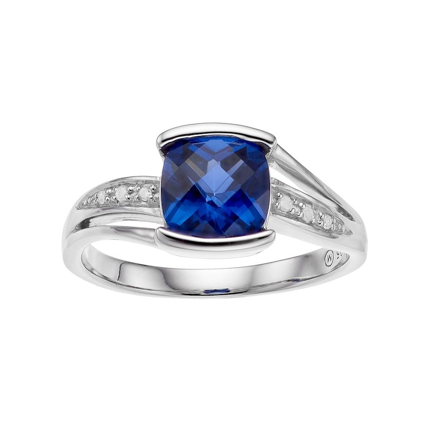 64b909ff89f8ae Sterling Silver Lab-Created Sapphire & Diamond Accent Cushion Ring,  Women's, Size: 9, Blue