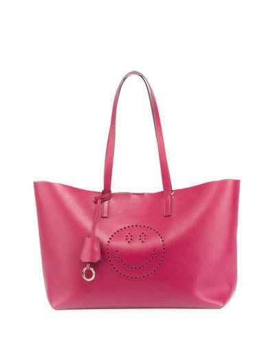 ANYA HINDMARCH Ebury Smiley Large Shopper Bag, Fuchsia. #anyahindmarch #bags #shoulder bags #lining #suede #