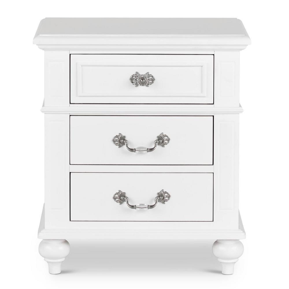 Element International Annie 3 Drawer Nightstand In White