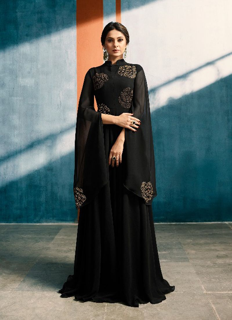 Black Designer Indian Evening Gown | Gown | Pinterest | Gowns ...