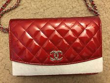 e9c1731cdb08 Chanel Red Quilted Patent Brilliant CC Wallet On Chain (WOC) | Bags ...