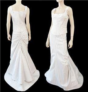 white w/ blue pinstripe silk twopiece square neckline
