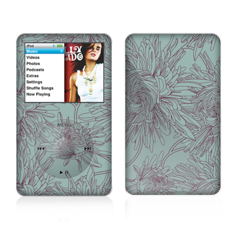 The Teal Aster Flower Lined Skin For The Apple iPod Classic