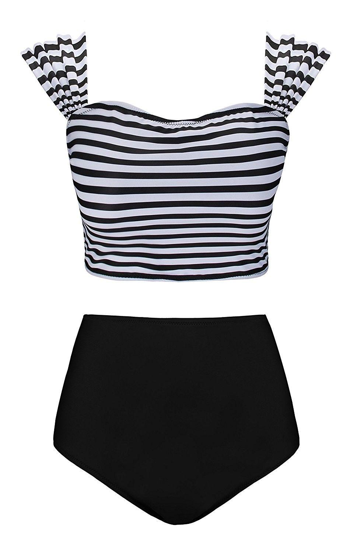 b7c82764b Floral Printed Swimwear High Waisted Bikini 2 Piece Swimsuit Bandage Bathing  Suit - Black - CO189SLN38X,Women's Clothing, Swimsuits & Cover Ups, ...