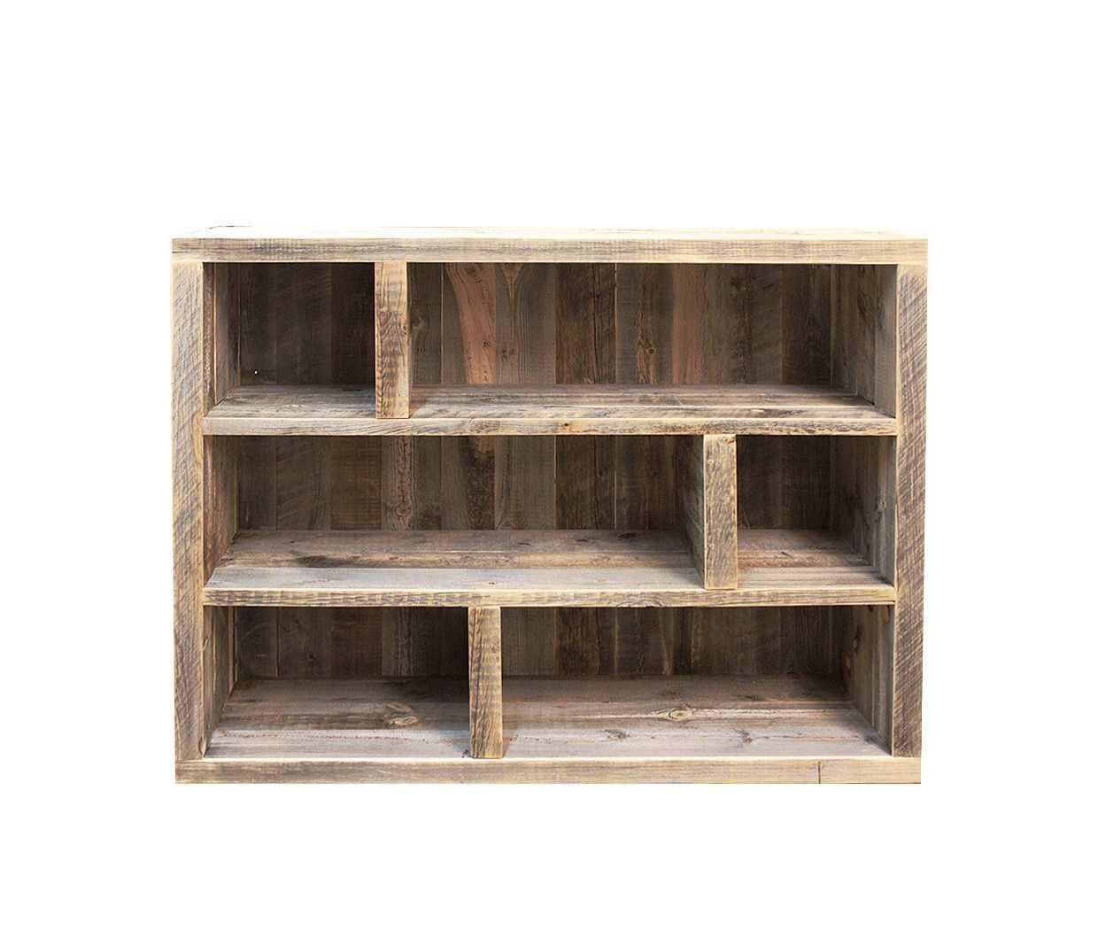 Reclaimed Wood Media Console, Bookshelf, Adjustable
