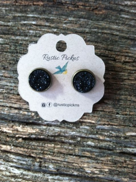 Black Druzy in Bronze Stud Setting