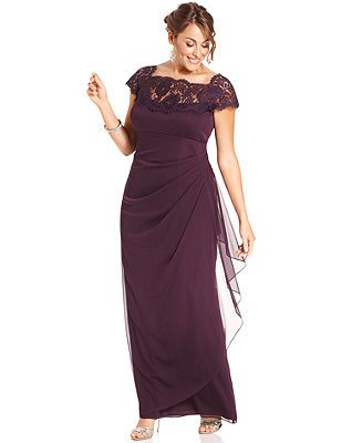 Xscape Plus Size Dress, Cap-Sleeve Lace Gown - Plus Size ...